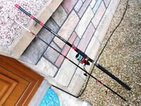 silstar boat rod with fixed spool reel, 2pc, 8 ft long