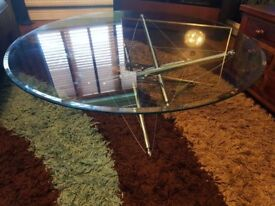 QUALITY DESIGNER GLASS AND CHROME COFFEE TABLE