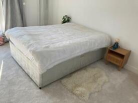 Divan double bed, drawers, mattress, topper, sheet, duvet