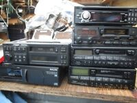 Selection of car radios/ cd/ cassette players.