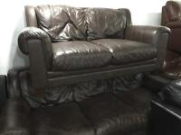 As new full leather hide 3 and 2 sofas