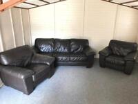 ⭐️ Dark brown full leather ~ 3-1-1 ~ sofas Suite