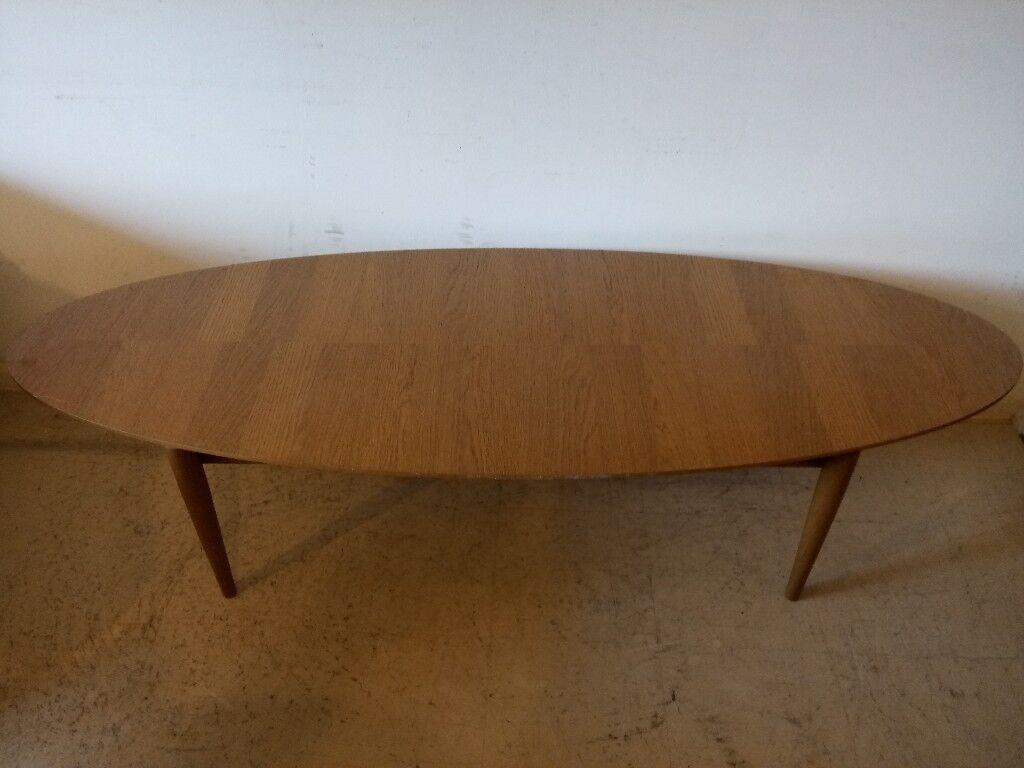 IKEA Large Oak Oval Coffee Table with Shelf