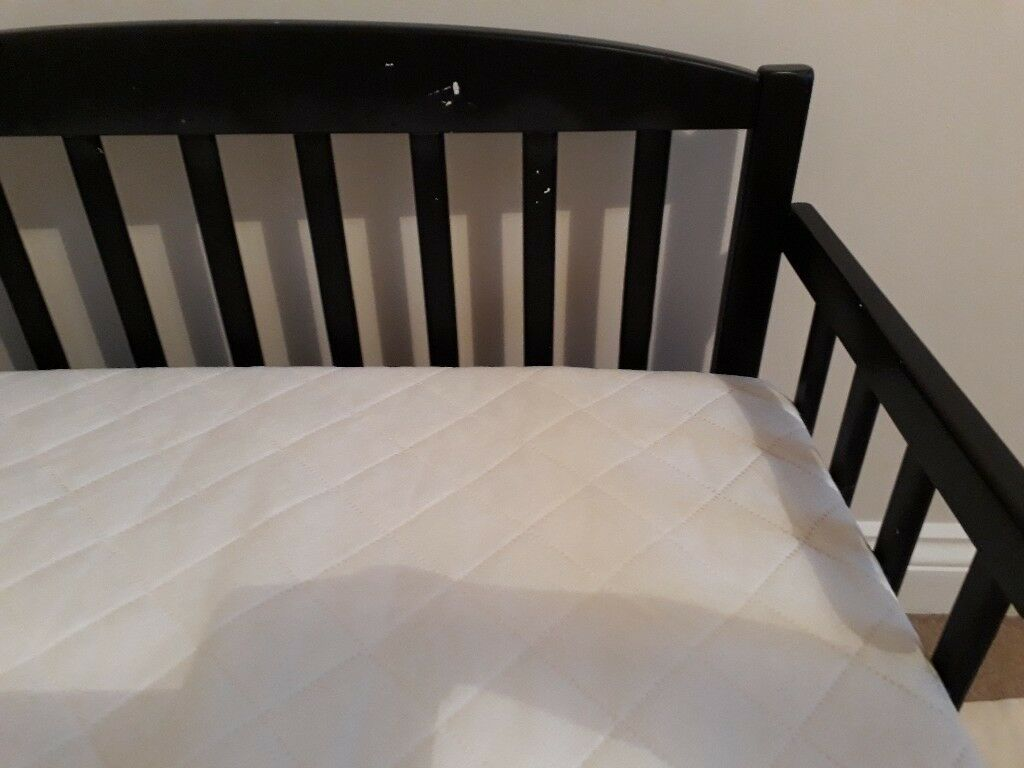 Toddler Bed Kai Kinder Valley Black White With Mattress Image 1 Of 3
