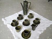 PORTMEIRION Retro Dark Green 'Totem' Coffee Set