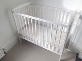 Space saver cot and mattress, white wood, little used