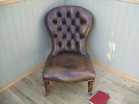Stunning Vintage Brown Leather Chesterfield Nursing Chair.