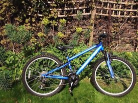 Bronx Bicycle, age 8-12, 24 inch wheels, 21 gears, electric blue paint & top condition, hardly used.