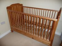 Mothercare cot bed in antique pine. To suit mattress size 140cm x 70 cm - very good condition
