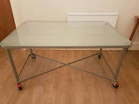 Large Ikea Glass top Office Desk on wheels, 95 x 140 cm
