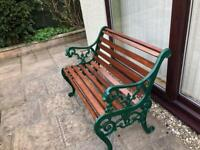 Vintage Small Wrought Iron Garden Bench With Detailed Ends R556