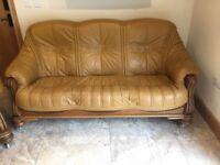 Leather/Oak 3 Piece suite for sale