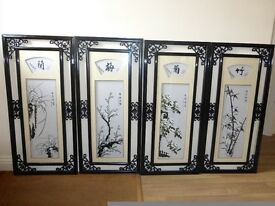 Chinese Silk pictures of the four seasons (one picture of each)