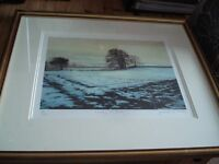 Framed Picture - Print of Winter Snow Scene 88/350 by Gillian Mitchell. 59 x 51cm.