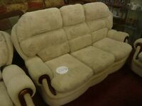 patterned, Soft, 3 seater sofa with 1 armchair and 1 recliner chair
