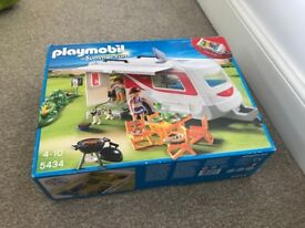 Playmobile car and caravan and tent boxed