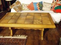 COFFEE TABLE - SOLID OAK AND TILES- GREAT CONDITION