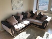 L Shaped Corner Sofa, Brown & Beige. Excellent condition.