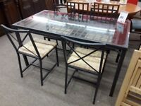 Black Metal/Glass Dining Table and 4 Black Chairs