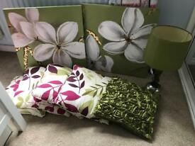 Lamp cushions and canvas