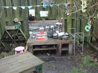 Mud Kitchen, complete with pots and pans and accessories - pics