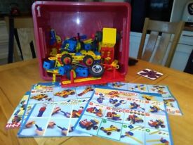 A large box of mixed meccano with instruction booklets in great condition.