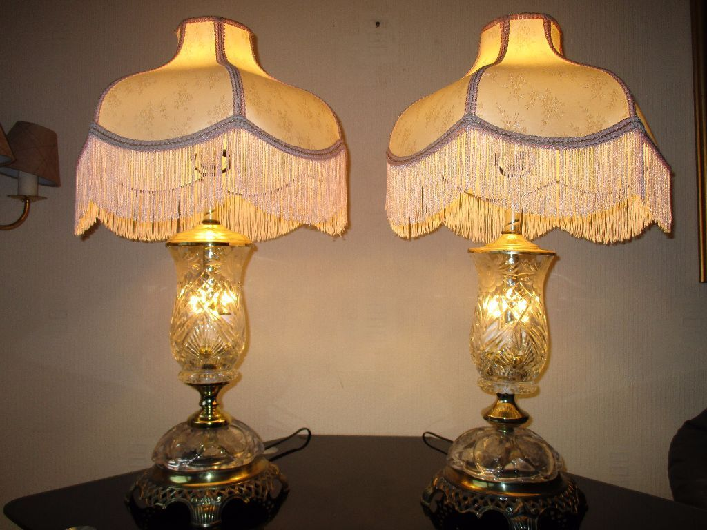 PAIR OF HUGE VINTAGE ORNATE BRASS AND LEADED CUT GLASS TABLE LAMPS ...