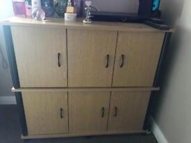 Oak/Black 6 door storage cabinet