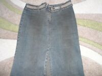 RIVER ISLAND DENIM SKIRT WITH FRONT SLIP SIZE 12 GOOD CONDITION