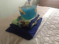 NEXT Little Digger curtains, light shade, single duvet cover and pillowcase