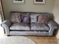 Imaculate silver brushed velvet sofa and chair
