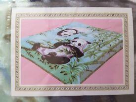Blanket green with panda
