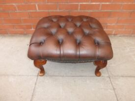 A Brown Leather Chesterfield Queen Ann Foot Stool