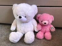 Teddy Bundle Of Gloe E (glo e) Light Up Teddies White & Pink Bears (glow Up)dark