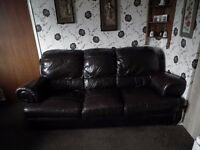 3 seater brown leather sofa excellent condition