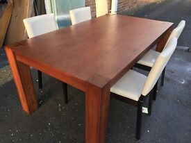 Alston large 180cm walnut stained table and 4 cream leather chairs
