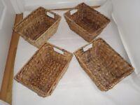 4 seagrass baskets 22 x 30 cms x height 15cms vgc £9
