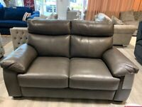 Sofa 2 seater in full genuine leather colour grey