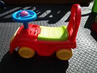 various kids toys, bikes, trikes, walkers, sandpit