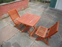 Children's Solid Wood Garden Seats and Table - Foldable