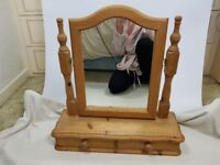 Wooden Cosmetic Vanity Dressing Swing Mirror and Draw.