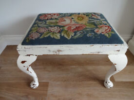 Antique Art Deco Painted Footstool Floral Tapestry Top Shabby Chic