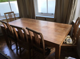 large oak table 200x100cm wth 6 dining chairs from southern france.seats max 8 easily.