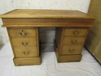 Small antique kneehole pine desk, lady, student, child