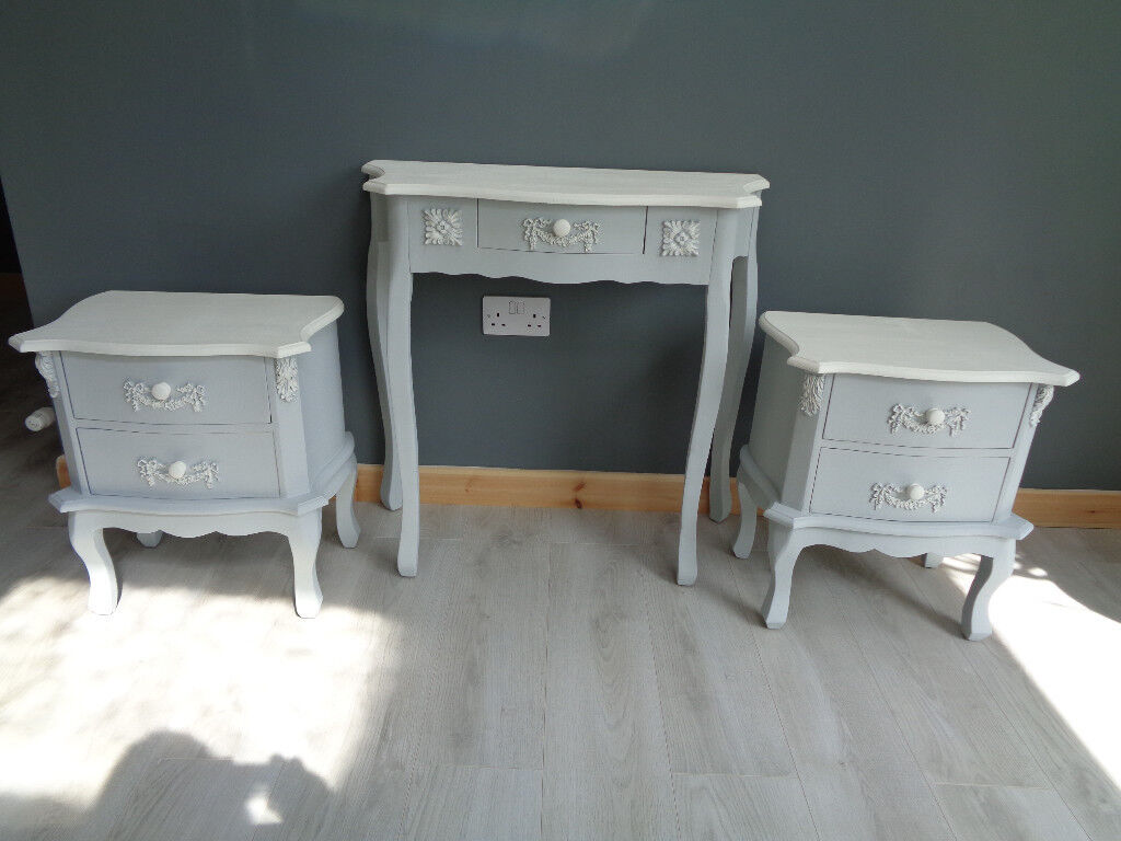 French Style Dressing Table And 2 Bedside Cabinets Pastel Blue Antique White