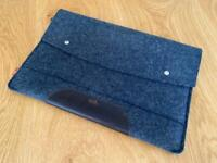 """Pack & Smooch 15"""" MacBook Pro Merino wool felt and natural leather case"""