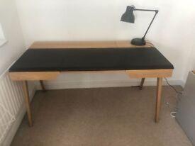 Habitat BECKETT Oak and brown leather desk