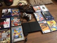 PS2 with 12 games, controller & all wires