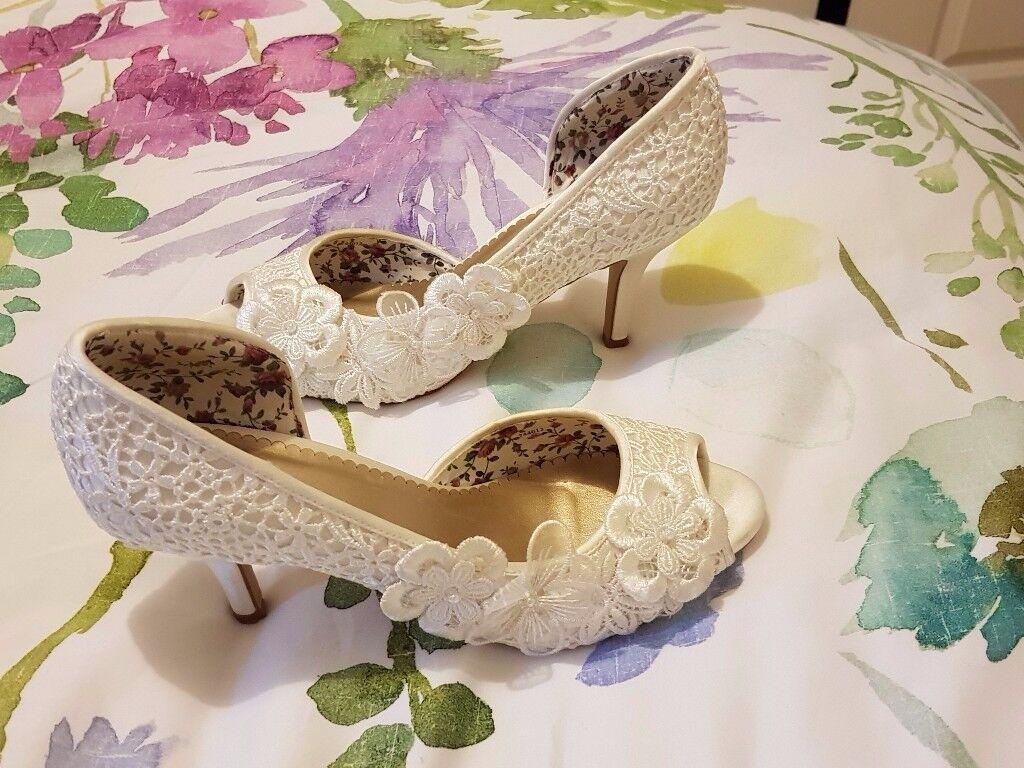 Monsoon Bridal Bella Vintage Lace Peep Toe Wedding Shoes