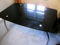 Curved Black Glass Dining Table - Used condition